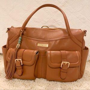 Lily Jade Elizabeth Diaper Bag in Camel & Gold EUC